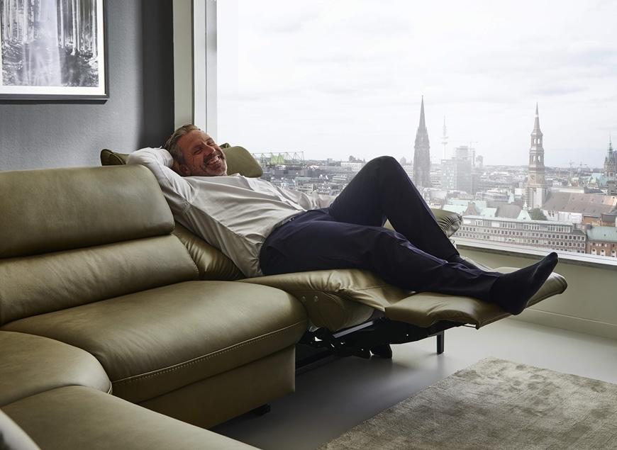 www.zetelhuys.be relaxsalon, elektrische relax, verstelbare hoofdsteun, Hukla, kwaliteit, leder, Flexus, longchair, hoeksalon
